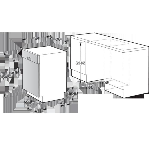 Ugradbena  mašina za suđe, 12 kompleta, 6 programa, A++