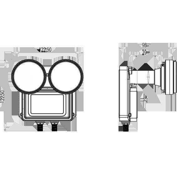 LNB,Monoblock 2 satelita na 2 prijemnika,raspon 6°,sum 0.2dB