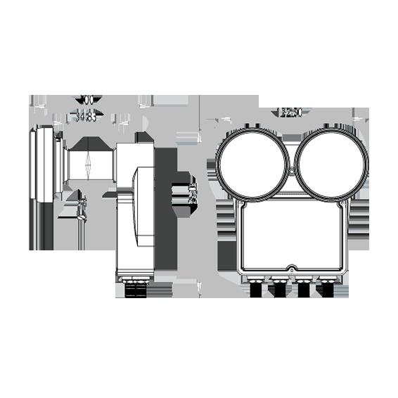 LNB,Monoblock 2 satelita na 4 prijemnika,raspon 6°,sum 0.2dB