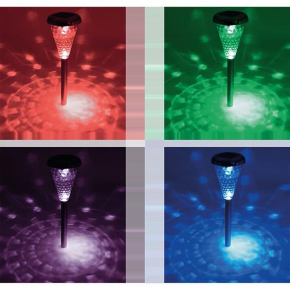 Solarna vrtna LED lampa, metal/staklo, set 4 komada, 300 mAh