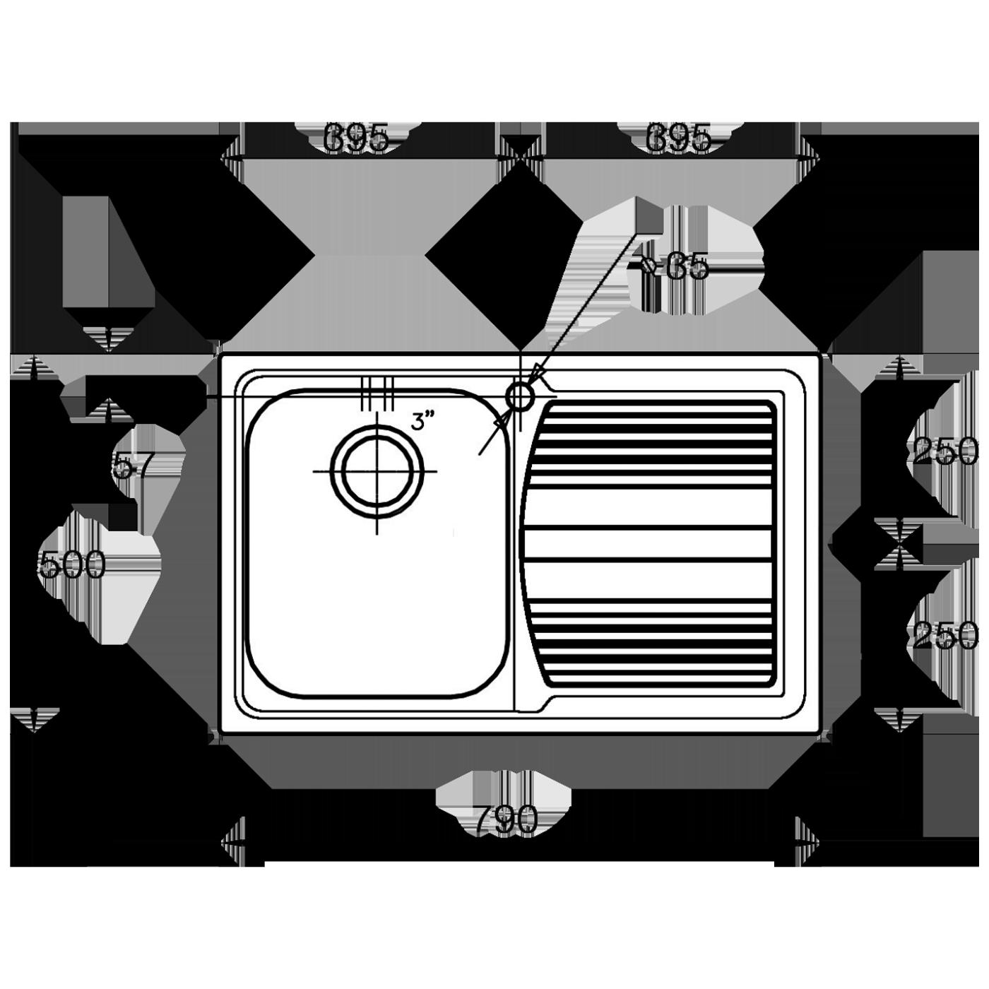 Sudoper ugradbeni, 790x500, desni, INOX