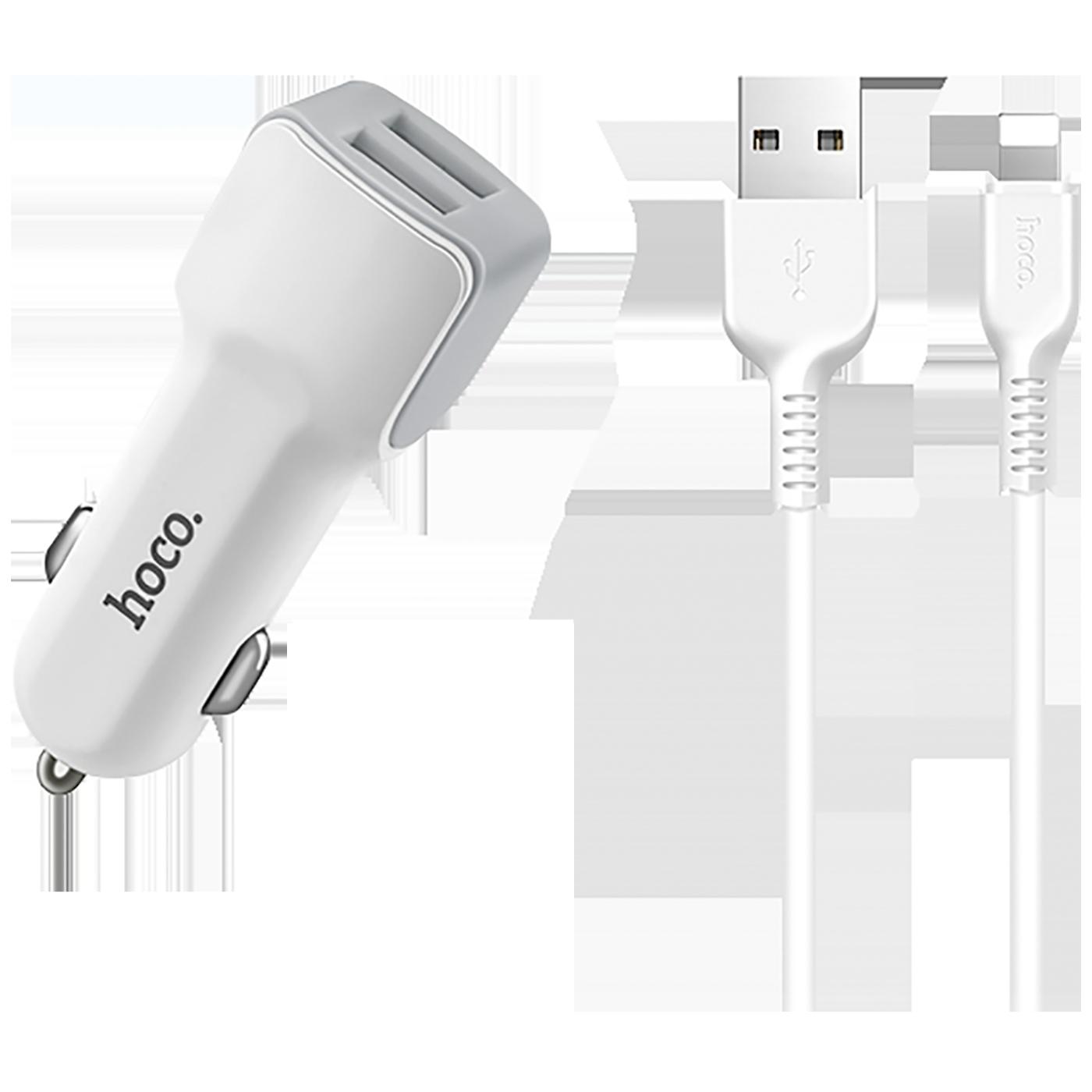 Auto punjač sa Lightning kabelom, 2 x USB, 5 V/2.4 A