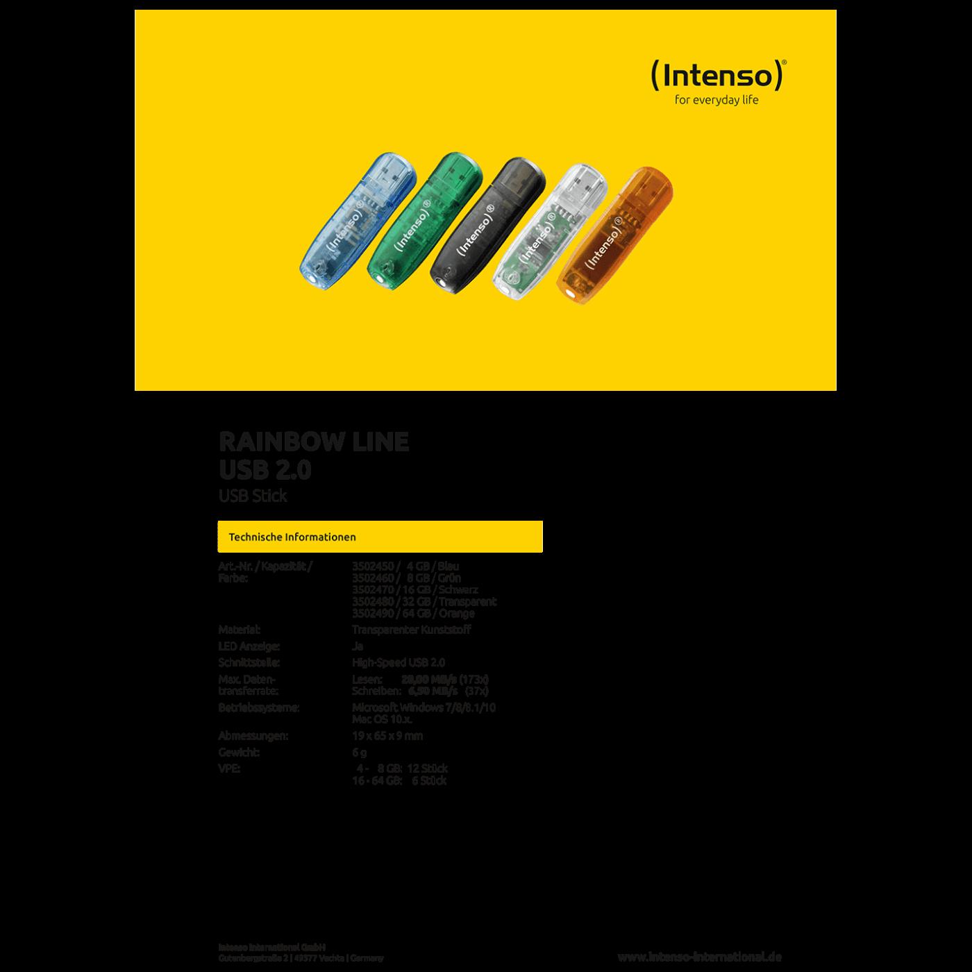 USB Flash drive 64GB Hi-Speed USB 2.0, Rainbow Line, ORANGE