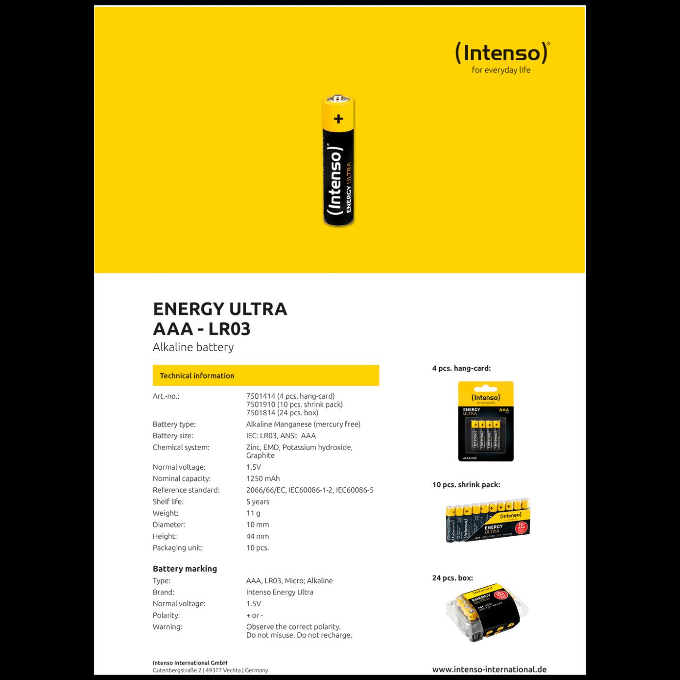 Baterija alkalna, AAA LR03/4, 1,5 V, blister 4 kom