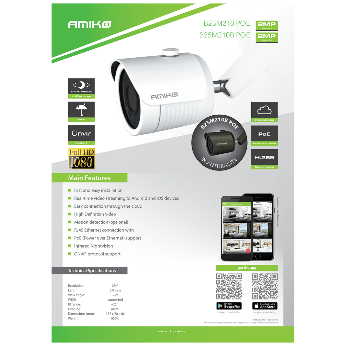 Kamera IP 2MP, PoE, 1/2.8