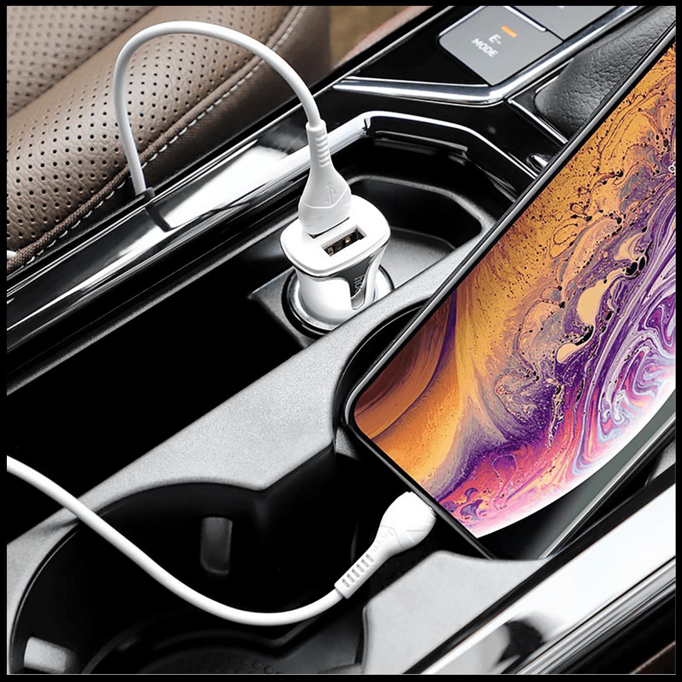 Auto punjač sa Lightning kabelom, QC, 2 x USB,  3.1 A