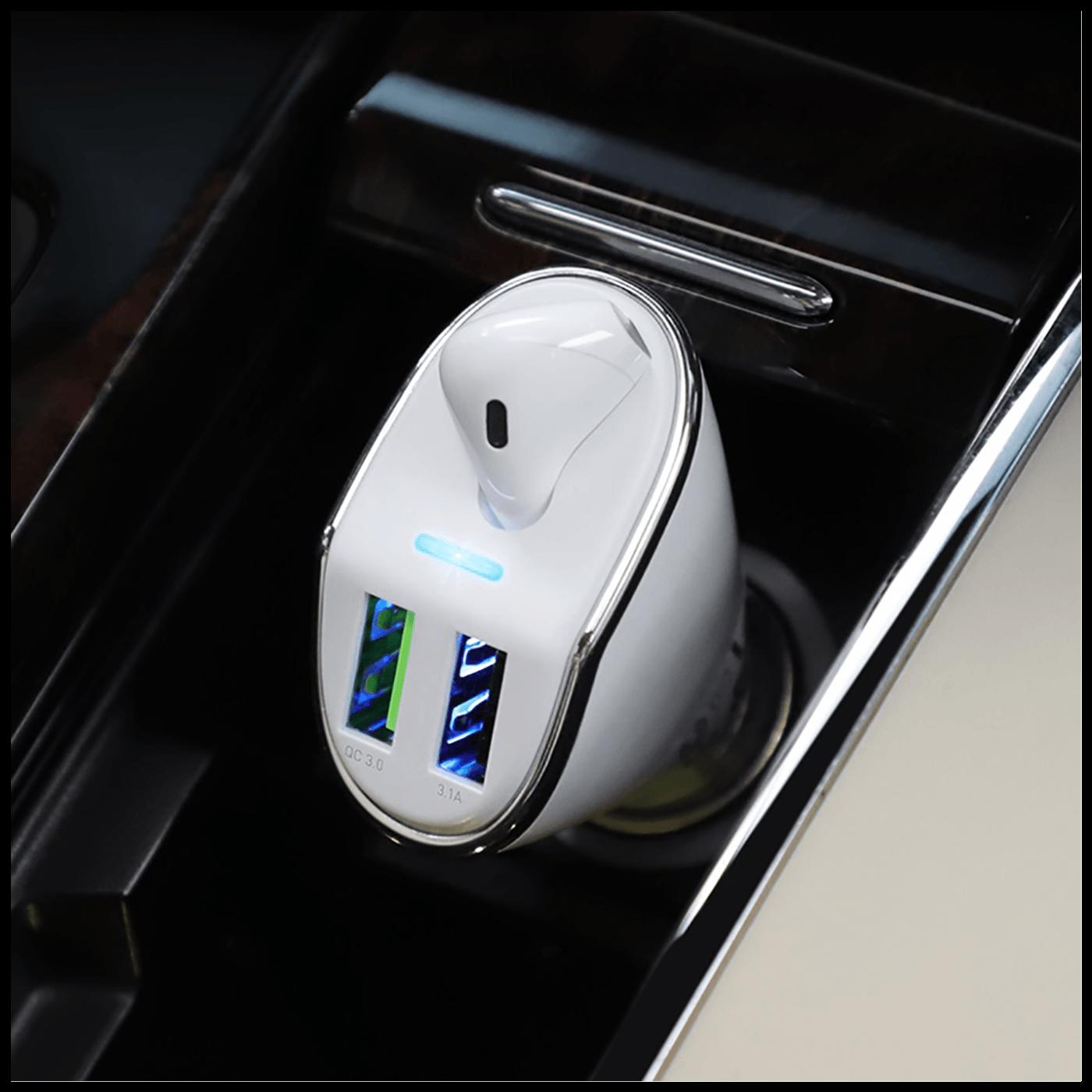Auto punjač sa bežičnom slušalicom, QC,2 x USB, 3.1 A,bijela
