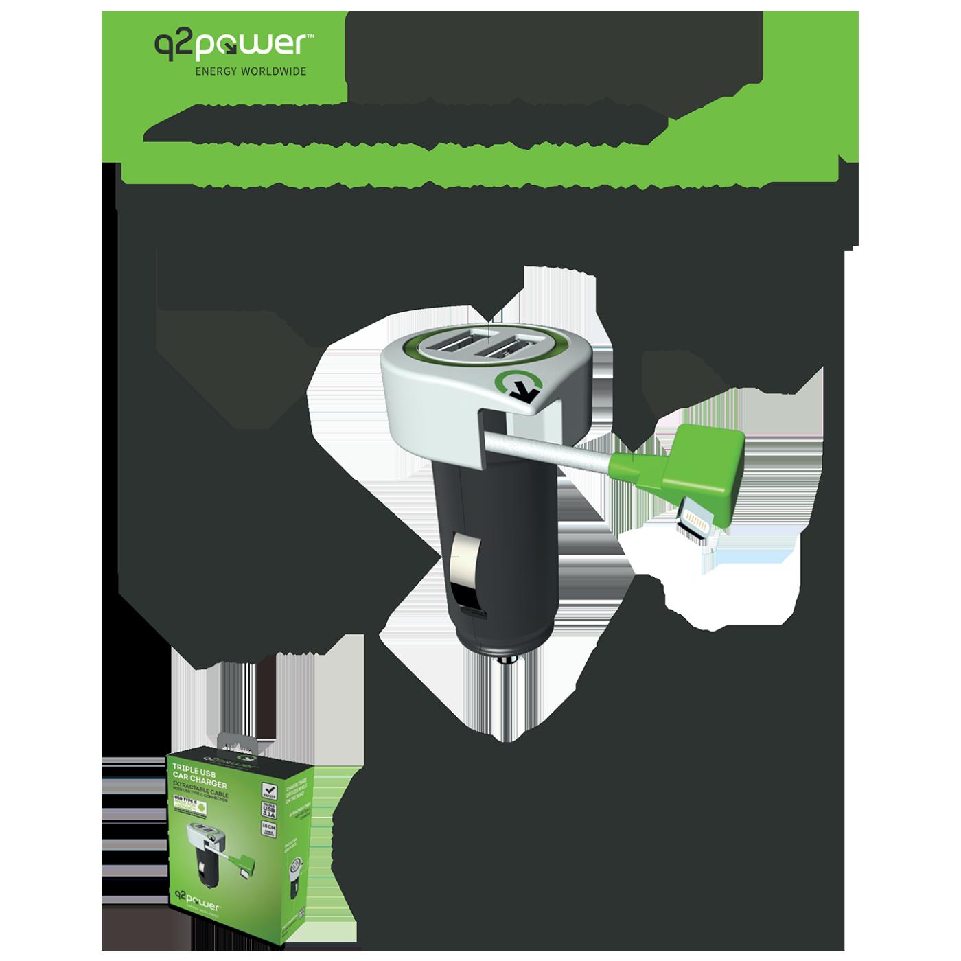 Auto punjač, Dual USB, 3.1A, lightning konektor
