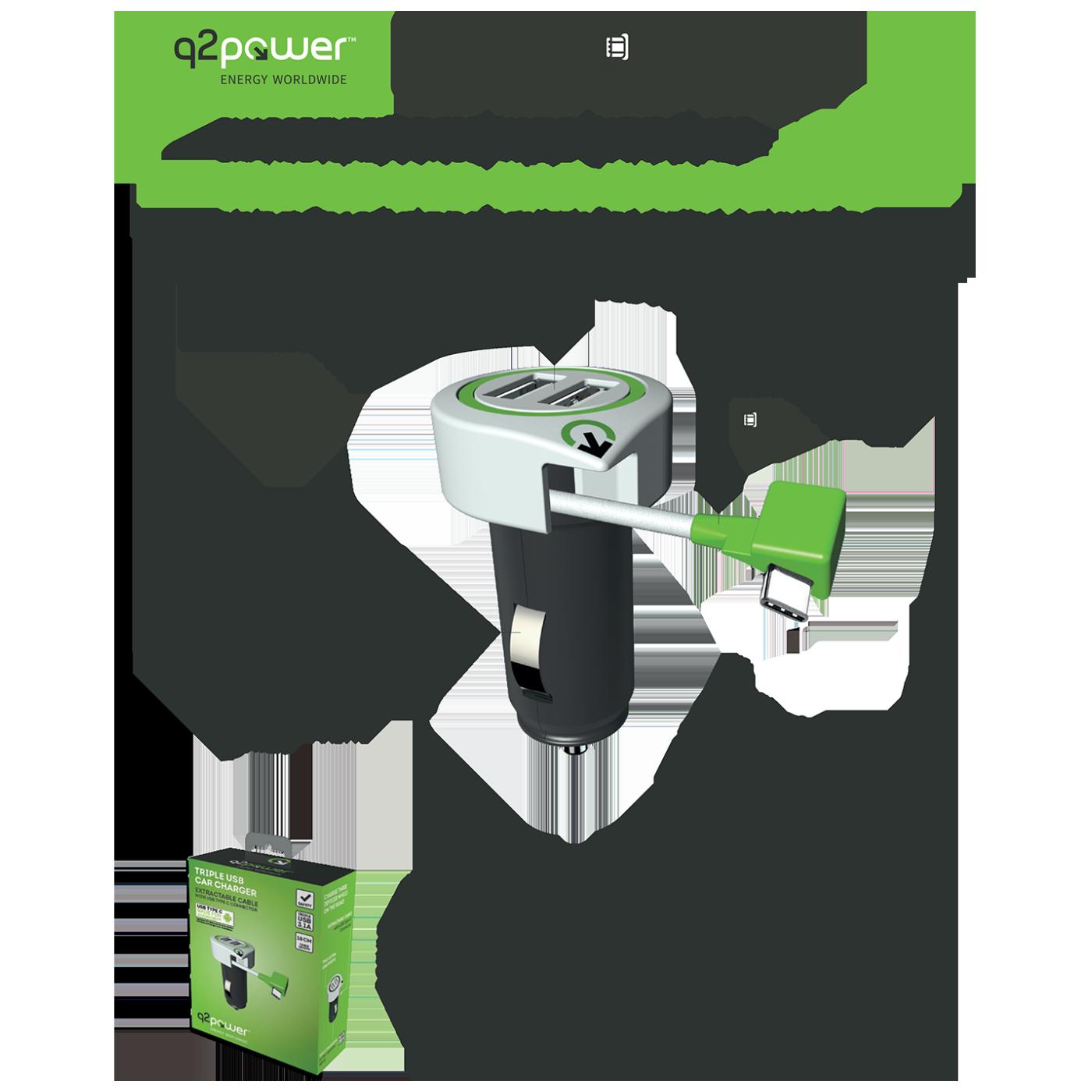 Auto punjač, Dual USB, 3.1A, type C konektor
