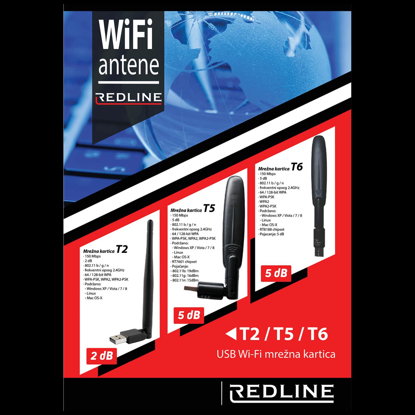 Wi-Fi mrežna kartica, USB, 2.4 GHz, 5 dB, 150 Mbps, RTL8188