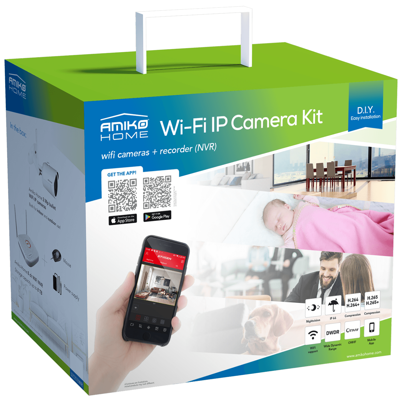 Set za video nadzor, 2 Mpixel, 6 x bullet cam., 9 ch, WiFi