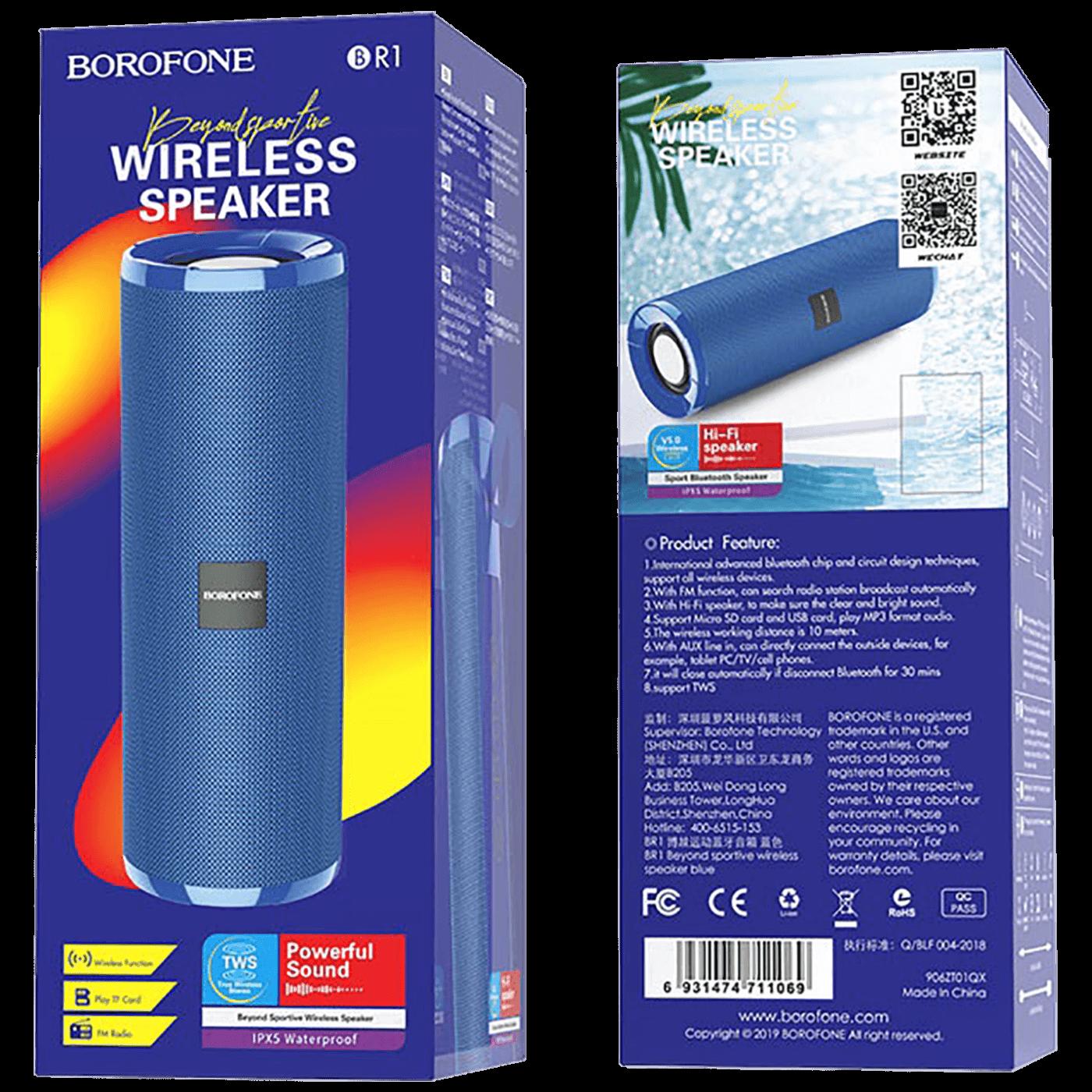 Zvučnik bežični, Bluetooth, 1200 mAh, 3 h, plava