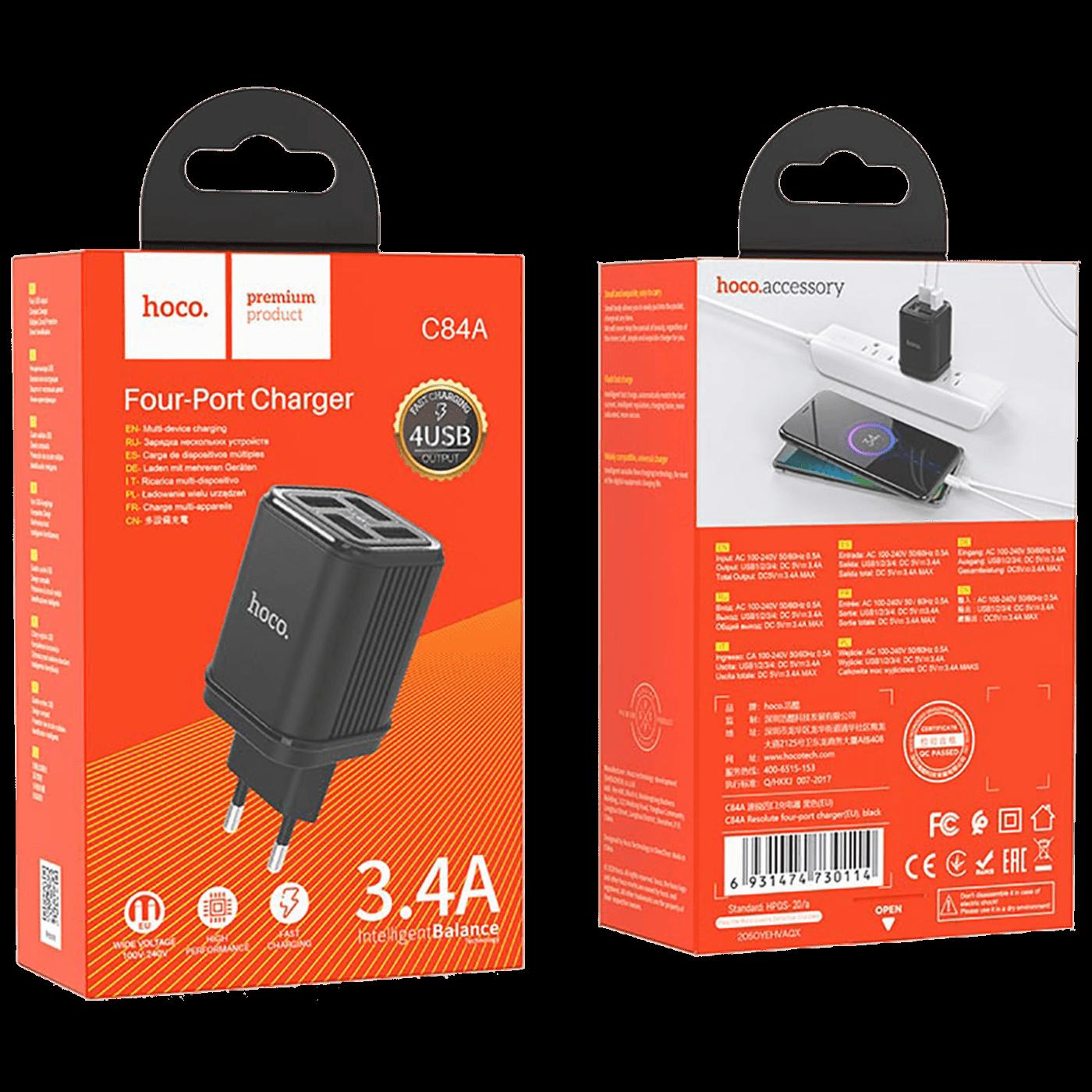 Punjač kućni, 4xUSB, 3.4A, za smartphone , tablete...