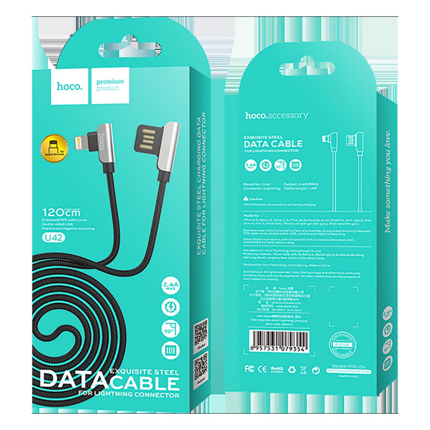 USB kabl za iPhone, Lightning kabl, 1.2 met., 2.4 A, crna