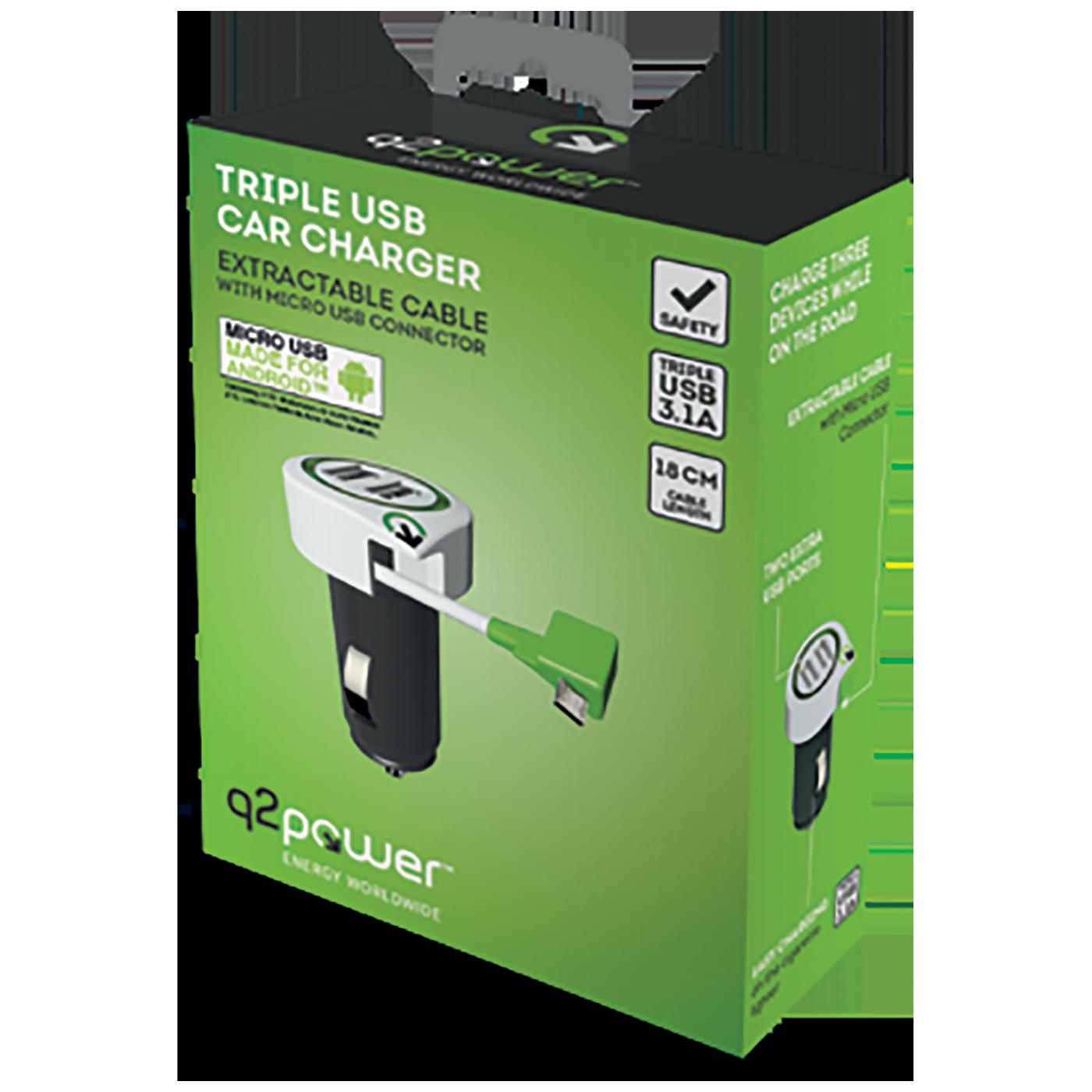 Auto punjač, Dual USB, 3.1A, microUSB