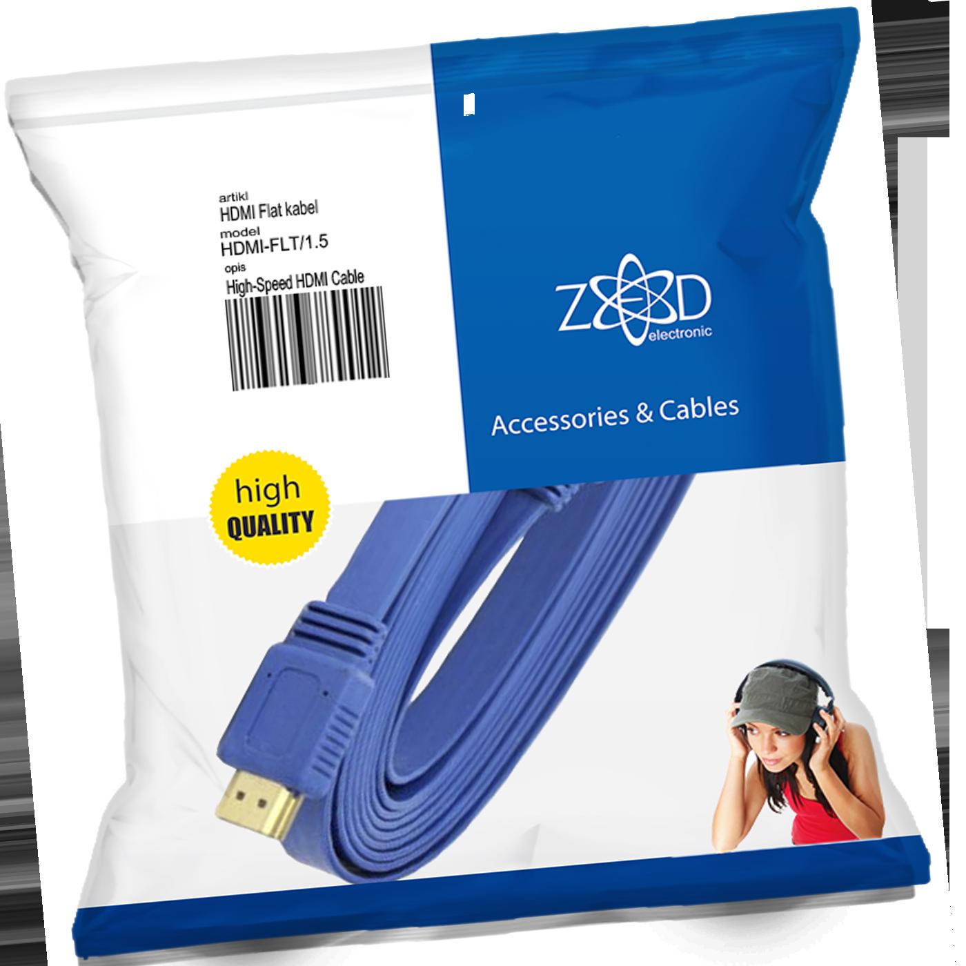 HDMI kabl, plosnati, 1.5 met, ver. 2.0, 3D, Ethernet