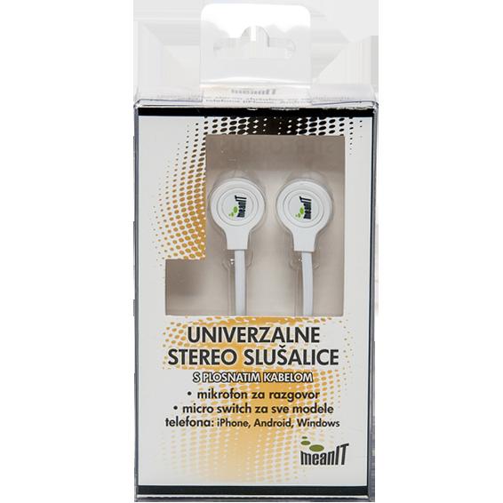 Slušalice sa mikrofonom, stereo, 3,5mm, bijele