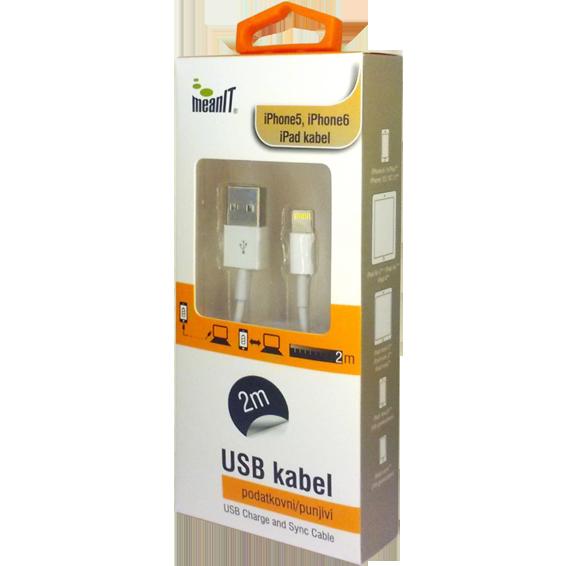 USB kabl za Iphone 5 / 6, iPAD, dužina 2.0 metra, bijeli