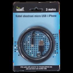 USB kabl sa micro USB i iPhone priključkom, 3 met
