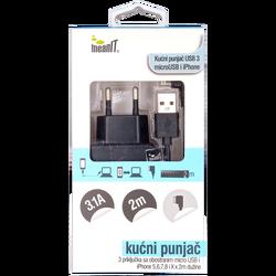 Punjač kućni za smartphone i iPhone, 3 x USB
