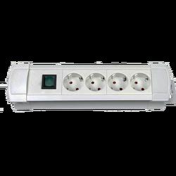 Produžni kabl 4 utičnice, 1.8m, prekidač, sivi, 1.5mm²