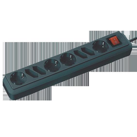 Produžni kabl 8 utičnice, 1.5m, prekidač, crni, 1.5mm²