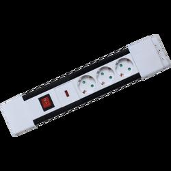 Produžni kabl, 3 utičnice, prekidač, 1,5mm², 2 met, bijeli