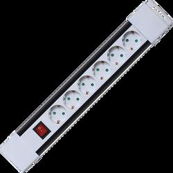 Produžni kabl, 6 utičnica, prekidač, 1,0mm², 2 met, bijeli