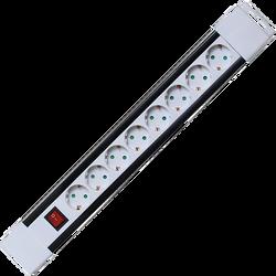 Produžni kabl, 8 utičnica, prekidač, 1,0mm², 2 met, bijeli