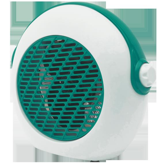 Grijalica sa ventilatorom, 2000W, tirkizna bijela