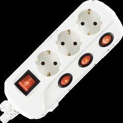 Produžni kabl sa zaštitom, 3 utičnice, 1.0mm², 1.5 met