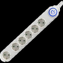 Produžni kabl, 6 utičnice, 3 x 1,0mm², 1,5met, bijeli