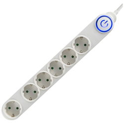 Produžni kabl, 6 utičnice, 3 x 1,0mm², 5met, bijeli