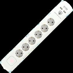 Produžni kabl sa zaštitom, 6 utičnica, 1.5mm², 1,4 met, USB