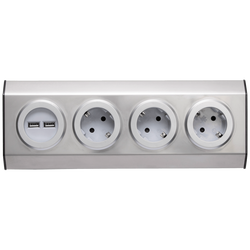 Strujni razdjeljnik sa 3 utičnice + USB, INOX
