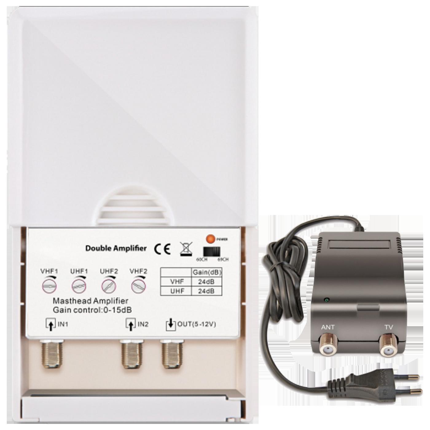 Pojačalo antensko + LTE / 4G filter sa 2 podesiva ulaza