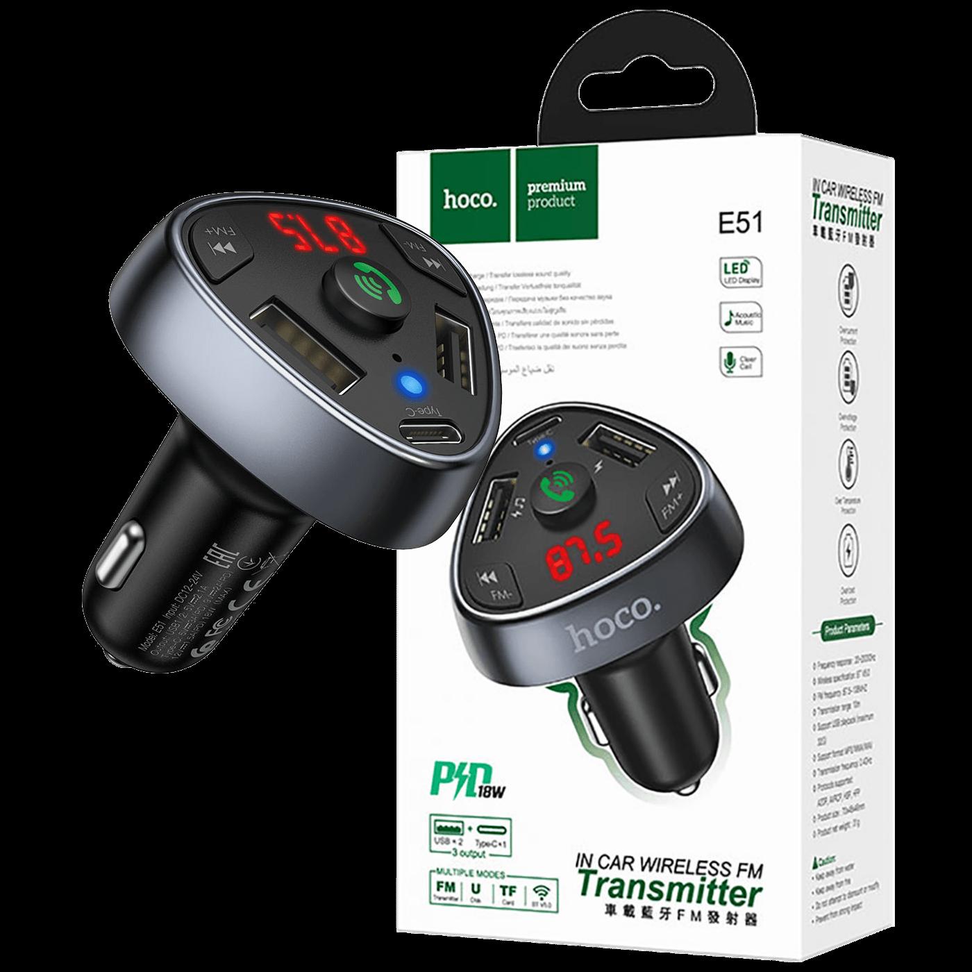 FM modulator, Bluetooth, 12/24 V, 2xUSB, 1xtype C, PD 18W