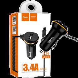 Auto punjač  sa micro USB kabl, USB, 5 V/3.4 A, crna