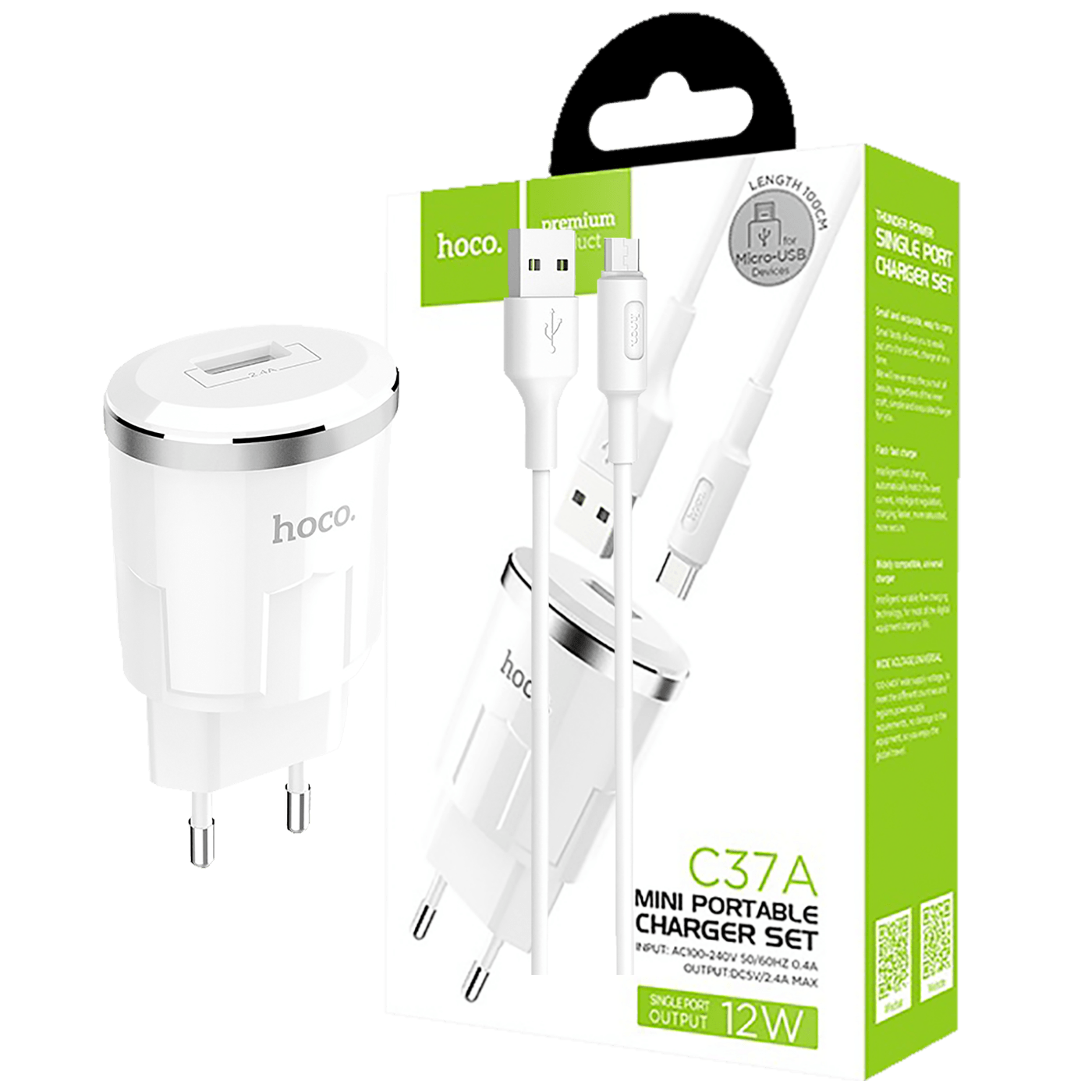 hoco. - C37A Thunder power, set, microUSB