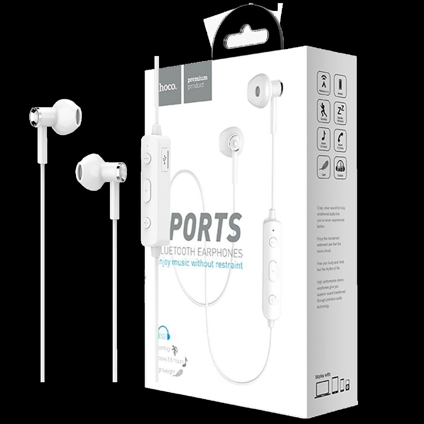 Slušalice bežična, sport, Bluetooth, 80 mAh, 3.5 h, bijela