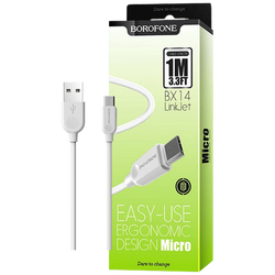 USB kabl za smartphone, micro USB kabl, 1 met., bijela