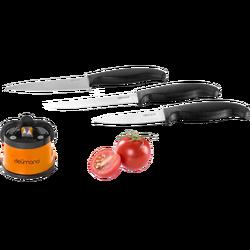 Set oštrač noževa + 3 kuhinjska noža