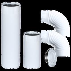 Dimovodne cijev-SET, Ø 150, cijev / kriva / rozeta, bijela