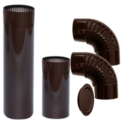 Dimovodne cijev-SET, Ø 150, cijev / kriva / rozeta, braon
