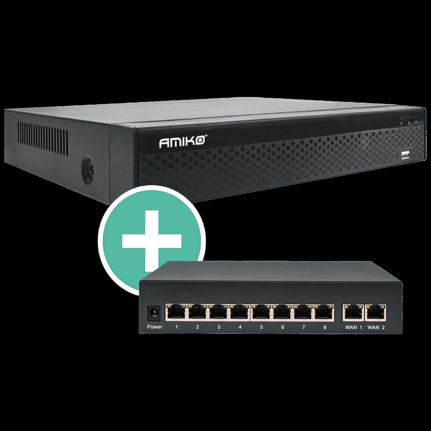 NVR IP snimač 36 kanala H.265 + PoE Switch 8 port