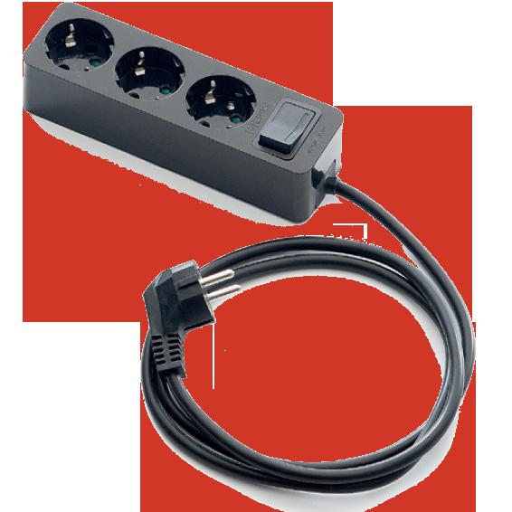 Produžni kabl 3 utičnice, 1.5m, prekidač, crni, 1.5mm²
