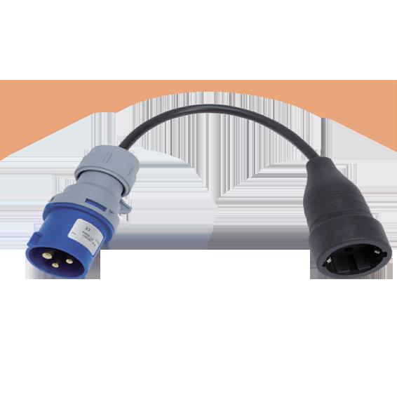 Adapter, industrijski utikač / schuko utičnica, IP40, 25cm