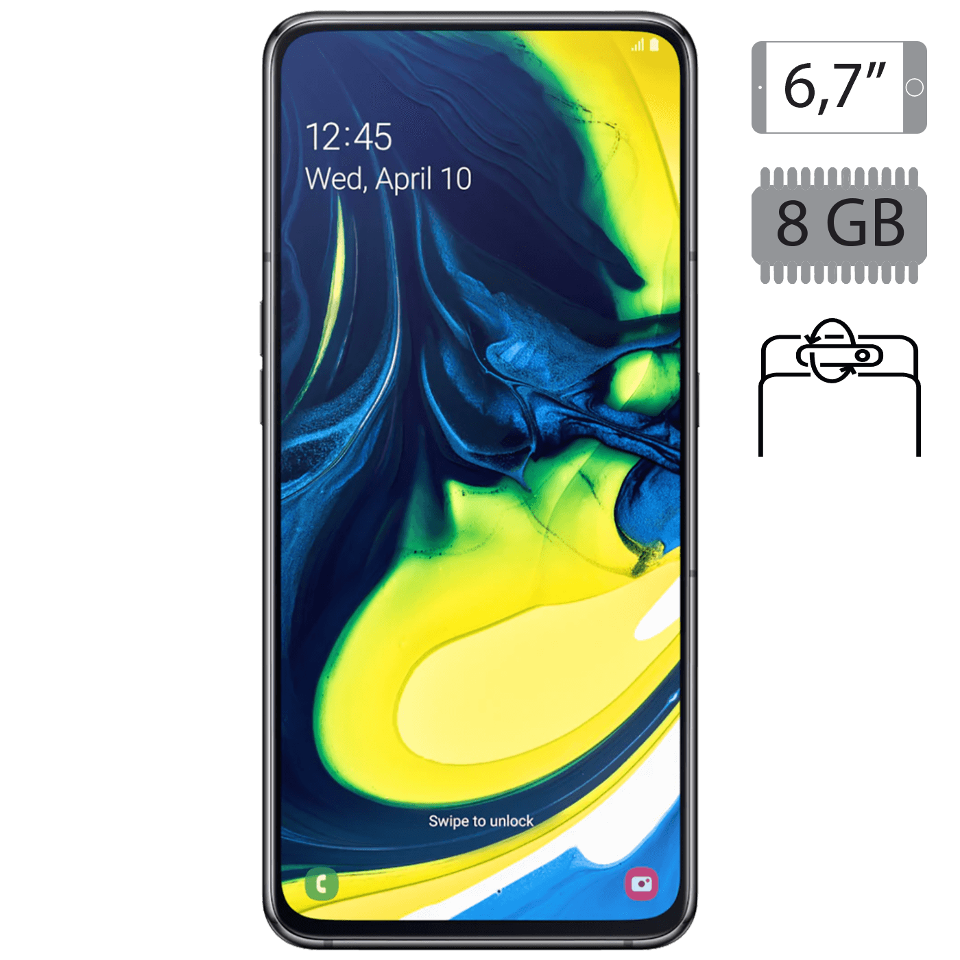 Samsung - Galaxy A80 Phantom Black