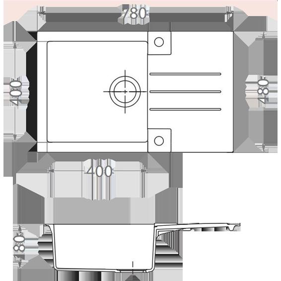 Sudoper ugradbeni, kvadratni, 480x180x780, granital