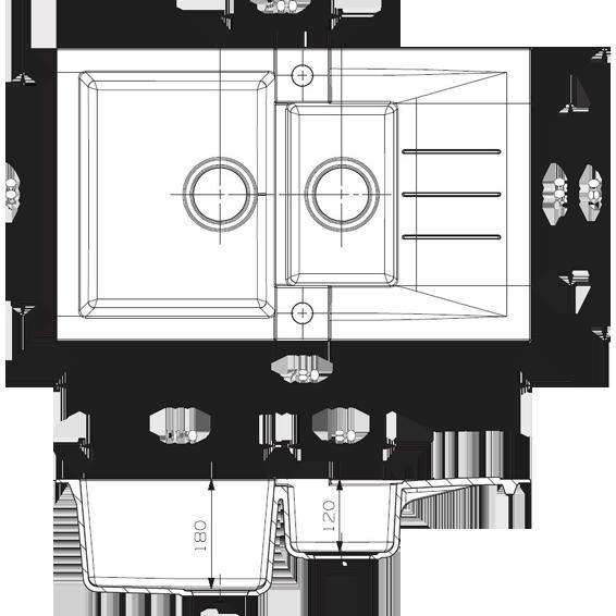 Sudoper ugradbeni, kvadratni, 480x180x780